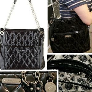 Large Black purse quilted bag large like new chain